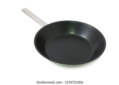 Black frying pan isolated on a white background with clipping path.