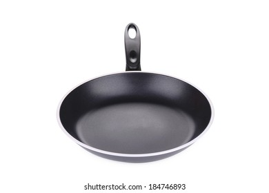 Black frying pan. Isolated on a white background.