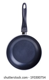 black frying pan isolated on white background .