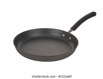 Black frying pan isolated on white
