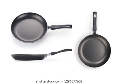 Black frying pan three views set. Isolated on white, clipping path included