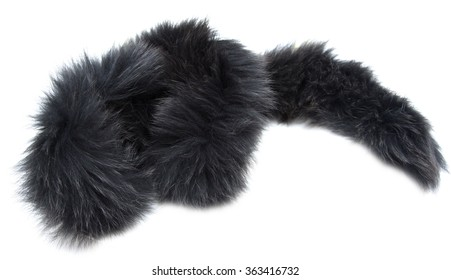 black fur collar on a white background