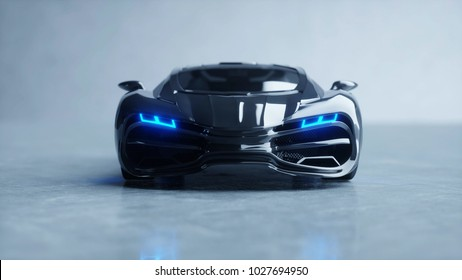 black futuristic electric car with blue light. Concept of future. 3d rendering.