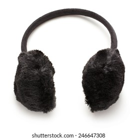 Black fuzzy winter Ear-Muffs on white background
