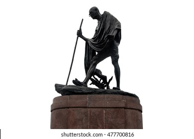 black Gandhi statue isolated on white background