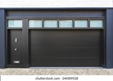 Black Garage Door in London. UK