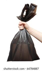 black garbage bag close up on white