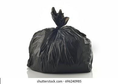 Black Garbage bag on White Background