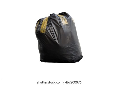 Black garbage bag put fully covered with adhesive tape isolated on white background.