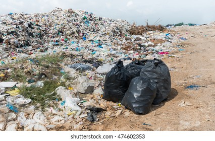 Black garbage bags in Municipal landfill for household waste, polution problem, selective focus