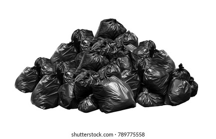 Black garbage bags waste many mountain stack hill, Waste plastic bags, Garbage heap, Lots pile of Garbage dump black bags, Waste plastic isolated on white background