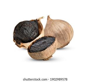 Black garlic isolated on white background.