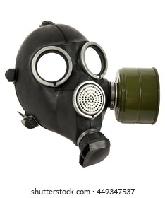 the black gas-mask close up, on white background; isolated