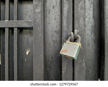 a black gate locked with a rusty padlock. concept of safety and security