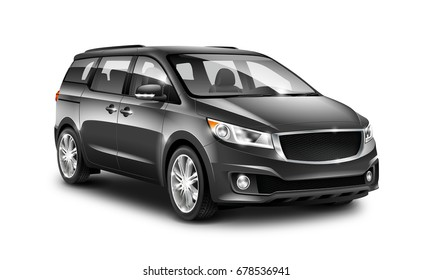 Black Generic Minivan Car On White Background. MUV, MPV Or High Roof Family Automobile. Perspective view. 3d illustration With Isolated Path.