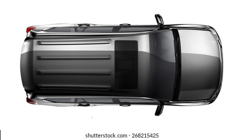 Black generic suv car on white background