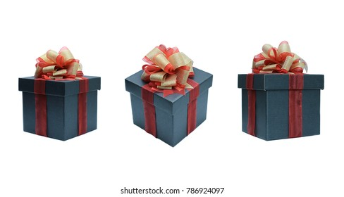 black Gift box with ribbon for valentine, birthday, party, ceremony, christmas.different angle. isolated on white background