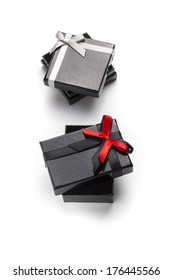 Black gift boxes with ribbon