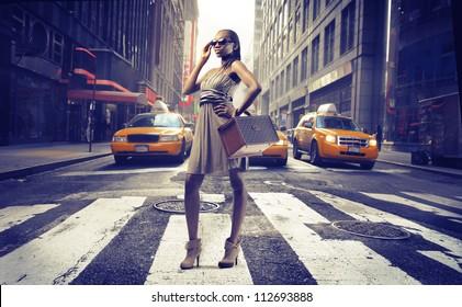 Black girl on pedestrian crossings in New York