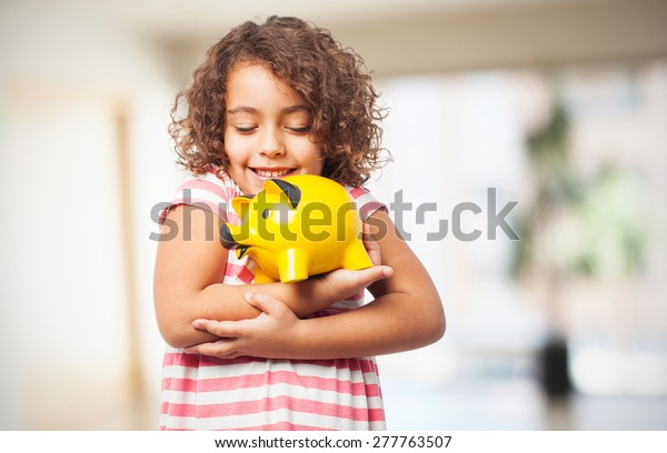 black girl with a piggy bank