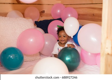 Black Girl Playing With Ballons