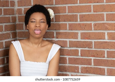 Black girl sticking her tongue out