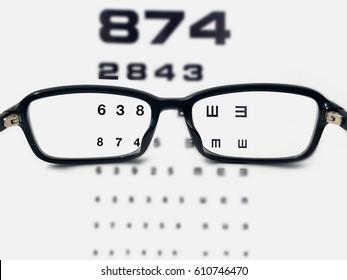 black glasses With eyesight test chart background