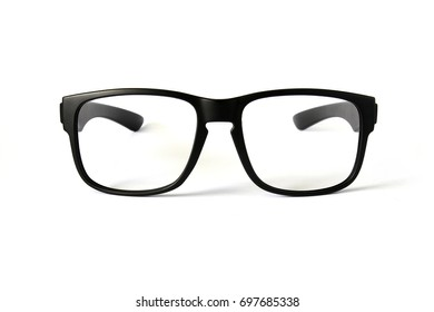 Black glasses frame isolated on white background