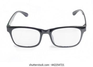 Black glasses on white background.
