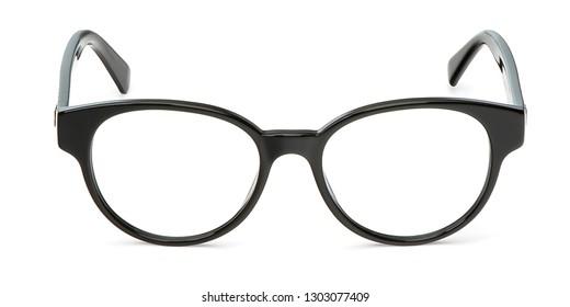Black glasses in rectangular frame transparent for reading or good eye sight, front view isolated on white background.  Glasses mockup.