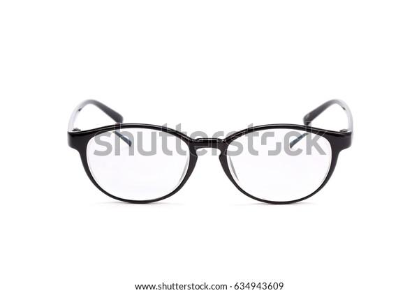 black glasses in white background