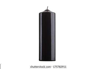 Black glossy cylinder candle isolated on white background