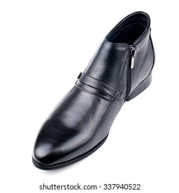 Black glossy shoe  isolated on white.Top view.