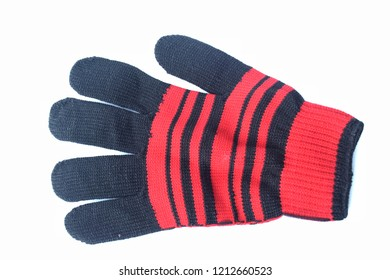 Black gloves placed on a white background.