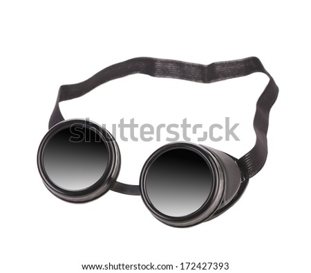 Black goggles used for eye protection and fashion statement. Isolated on a white background.