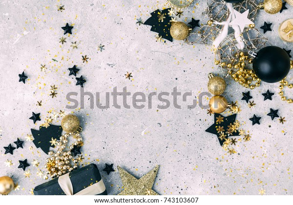 Black Gold Christmas Decorations Gift Box Stock Photo Edit Now