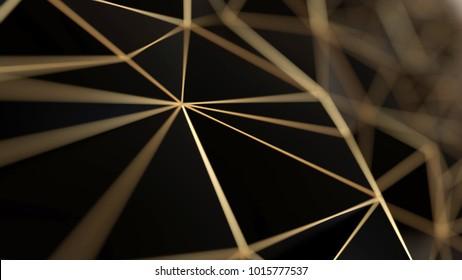 Black and gold concept polygonal background, 3d illustration