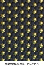 Black and gold Football or soccer ball quilted leather texture 3Dillustration