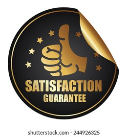 Black and Gold Metallic Satisfaction Guarantee Sticker, Icon or Label Isolated on White Background