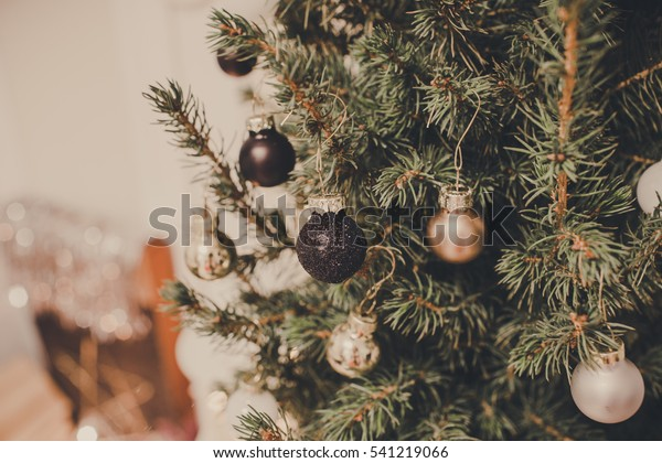 Black Gold Silver Christmas Decorations On Stock Photo Edit Now