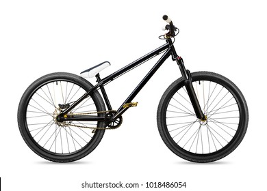 black gold slopestyle dirt jump bike bicycle isolated on white background