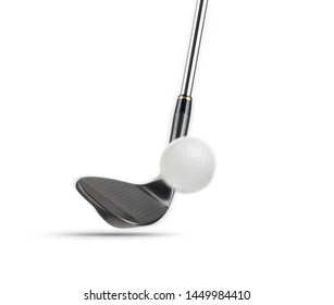 Black Golf Club Wedge Iron Hitting Golf Ball on White Background.