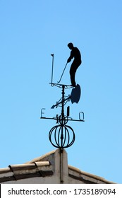 Black golfing weathervane against a blue sky, Calypso, Costa del Sol, Malaga Province, Andalucia, Spain, Europe.