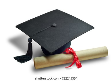 Black graduate cap with diploma brown paper on isolated white background.
