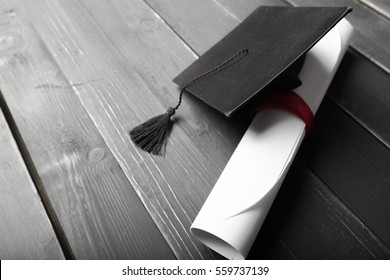 Black Graduation Cap with Degree