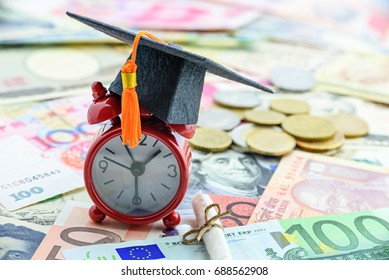 Black graduation cap / hat with an orange tassel on a small red clock, a rolled up scroll diploma / certificate on pile of money (coin and note). Concept of international graduate study abroad program