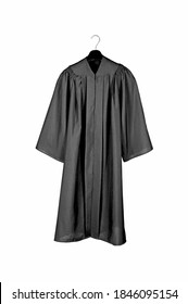 A black graduation gown isolated on white