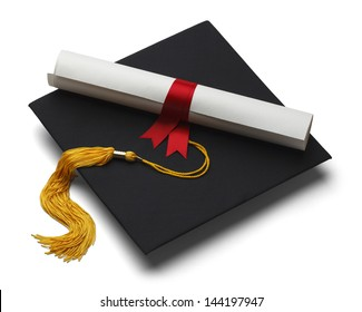 Black Graduation Hat with Degree Isolated on White Background.