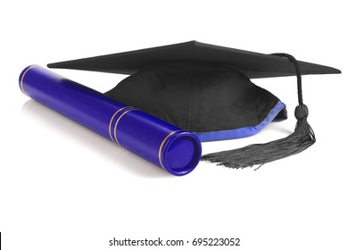 Black Graduation Mortar Board and Scroll Holder on White Background