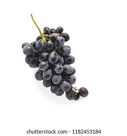 Black grapes isolated on white background, top view.